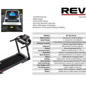 Revo Treadmill RT101 Motorized 1.75HP 110KG