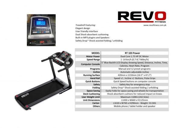 Revo Treadmill RT103 Motorized 1.75HP 110Kg